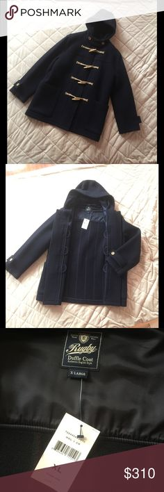 Ralph Lauren Duffle Coat MEN's NEW!!! Rugby Duffle Coat Authentic English Style, Quality Athletic Made Wear. 💯% wool. DARK BLUE color!!! Ralph Lauren Jackets & Coats