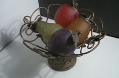 Vintage Glass Fruit with metal Basket Collectible by Castawayacres