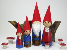 Gnome Family, set of four gnome Figures, Wooden Peg Dolls, Handmade Children's toy, Waldorf Inspired,  Felt Toy,