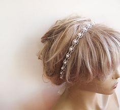 Wedding Wedding  Rhinestone and Pearl  headband  Bridal by ADbrdal, $37.00