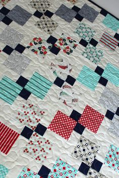Homemade Quilt~Baby Quilt~Crib Quilt~Nautical Baby Bedding~Patchwork Quilt~Nautical Nursery Bedding~Navy~Aqua~Red~Teal~Baby Quilts for Sale
