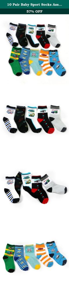 10 Pair Baby Sport Socks Assorted Designs Crew Socks Footsocks sneakers Socks. About The Description: -child socks material: 95% Cotton, 5% Nylon, they are very soft and high quality. -These material are thicker than usual socks, making these baby socks extra cozy, comfy, yet cute and fashionable. -The child socks ,keep little toes warm in style. -child socks with rubber soles size: To fit child 4-8 years , Stretchable, elastic anti slip socks Sole foot long 15-19cm (4-8 years old) -child...