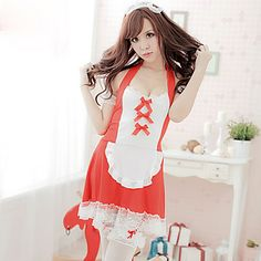 Sweet Babydoll Red-and-white Polyester Maid Uniform
