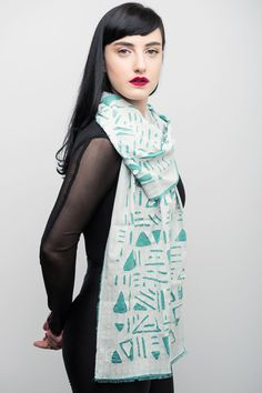 Unique handmade scarf, winter scarf, Texture scarf, Chiffon and Cotton Scarf, Beige & Turquoise Scarf, Geometric Scarf, one of a kind scarf