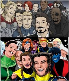 36 Superhero Selfies--the Oscar selfie with the Avengers and X-Men.  Look at how cute Nightcrawler's smile is! :)