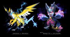 Mega Banette + Slyveon and Zapdos + Raikou Pokemon Fusion Art, Pokemon Fan Art, Nintendo Pokemon, My Pokemon, Fanart Pokemon, Pikachu, Pokemon Images, Pokemon Pictures, Creature Design