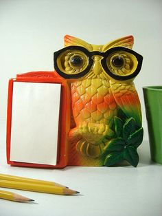 Retro Vintage Kitchen Chalk Ware Owl Hanging Memo Pad
