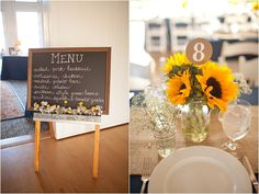 Chalkboard menu, sunflower centerpieces - Navy and Yellow Williamsburg Wedding by Katie Nesbitt » Marry and Bright