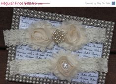 ON SALE Ivory Cream Lace Wedding garterBridal by bellasboutiquexo, $19.51