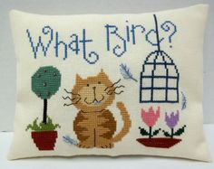 Humorous Cat Cross Stitch Mini Pillow by luvinstitchin4u on Etsy, $16.99
