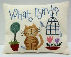 Humorous Cat Cross Stitched Mini Pillow