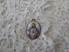 Religious enamel pendant by Nkempantiques on Etsy