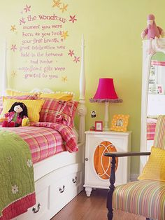 Write It Out-To dress up this simple headboard, paint a quote from a book in a cheery and whimsical font to match the room's theme.