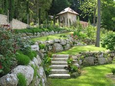 Beautiful natural stone retaining walls.