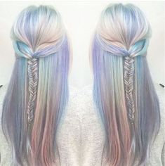 Holographic Hair explained. How to do it? What is it? - long braided half-updo no soft pastel metallic holo hair - silver, blue, green, yellow, teal hair color