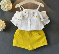 Girl Summer Set Girls Clothing Sets Clothes Sleeveless T-Shirt Shorts Kids Clothing Sets for Years, Little Girl Outfits, Little Girl Fashion, Toddler Fashion, Kids Outfits, Kids Fashion, Baby Girl Dresses, Baby Dress, Frocks For Girls, Summer Girls