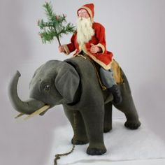 Extra Large Early Santa Riding Pull Toy Elephant via Betty Bell Antiques Father Christmas, Christmas Books, Country Christmas, Christmas Candy, Holiday, Vintage Christmas Photos, Antique Christmas, Santa And His Reindeer, Santa Baby