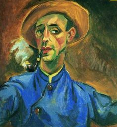 Max Pechstein, Self-Portrait with Pipe and Hat.