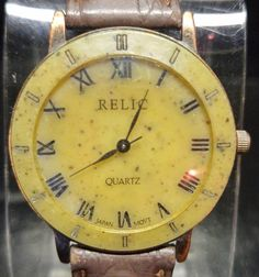 Relic by Fossil Women's Copper Stone Face Watch w/Brown Leather Band Quartz $24.00 #Relic #Fossil