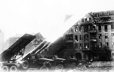 Soviet BM-13 Katyusha rocket launchers firing on Berlin, Germany, Apr 1945