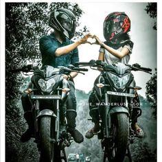 Super bikes for super people Couple Motocross, Motocross Love, Ktm Duke, Duke Bike, Motorcycle Couple Pictures, Biker Couple, Biker Love, Biker Girl, Pulsar 200