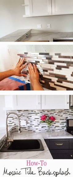 DIY Glass Mosaic Tile Backsplash, white and dark mix upper and lower cabinet