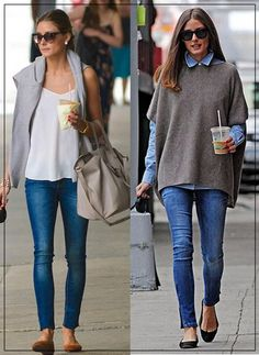 The Queen of Cool : Olivia Palermo - Divine Lee.  Love the poncho over the collared shirt!