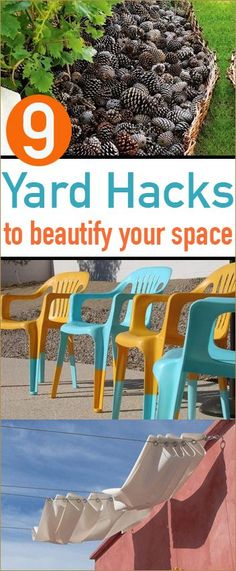 9 Yard Hacks.  Tips and tricks to getting your yard back to looking its best.  Creative ways to clean up the spaces in your yard.