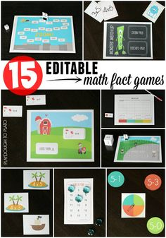 15 EDITABLE Math Fact Games. Perfect for math centers, math fact practice, send home games... tons of possibilities! And it works with addition, subtraction, multiplication... anything!