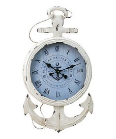 Look what I found on #zulily! Metal & Wood Anchor Clock by Evergreen #zulilyfinds