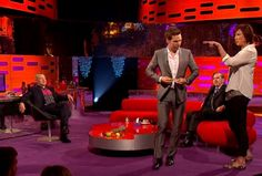 """Miranda Hart dared Benedict Cumberbatch to do a """"Beyonce walk"""" on The Graham Norton Show this weekend. 