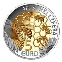 2013 Luxembourg 5 Euro 'European bee' Issue: 3000 pieces Price: € 45 - The issue in December 2013 Hives And Honey, I Love Bees, Bee Skep, Bee Gifts, Bee Art, Beautiful Bugs, Save The Bees, Bees Knees, Rare Coins