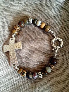 Stone Earth Tone and Silver with Hammered by AdornmentsbyGwen, $29.00