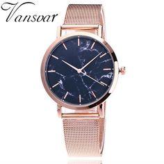 Vansvar Silver And Gold Mesh Band Wristwatch Women Creative Marble Casual Quartz Watches Gift Relogio Feminino V74