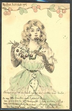 ~GZ152 VIENNE Style FEMME CERISES LADY CHERRIES 1903~