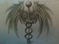 Caduceus Tattoo by lilsurferbabe on DeviantArt Ems Tattoos, Body Art Tattoos, Sleeve Tattoos, Nurse Tattoos, Tatoos, Guardian Tattoo, Caduceus Tattoo, Enough Tattoo, Tribal Dragon Tattoos