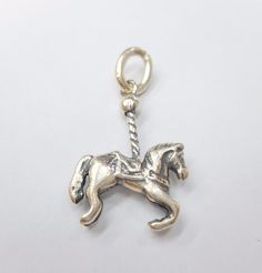 Vintage Genuine 925 Sterling Silver Carousel Horse Charm ~ County Fair ~ #3304
