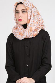 Dinda Floral Hijab Harga Khusus Hanya: Rp. 59.000  Warna: Orange Bahan: Chiffon Panjang: 114cm x 114cm