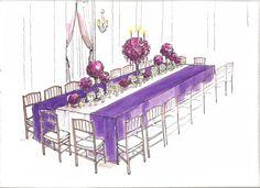 Sketch of yummy purple and magenta wedding. #weddingdesign #wedding #purple
