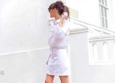 Lorna Luxe: shirt, white skirt and the Radial statement cutout cuff