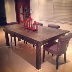 Rustic Dining Table // Handmade // Solid Wood // Rustic Furniture // Matching Benches by MAYHEMFURNITURECO on Etsy https://www.etsy.com/listing/197209330/rustic-dining-table-handmade-solid-wood