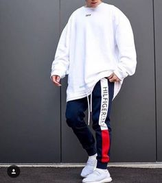 Via ________________________________________________ Long sleeve: off white Pants: tommy hilfiger Shoes: adidas ultra boost ________________________________________________ Trillest outfit by Style Streetwear, Streetwear Fashion, Streetwear Brands, Casual Outfits, Men Casual, Fashion Outfits, Summer Outfits, Men Street, Street Wear