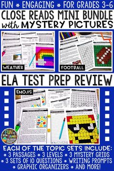 Educate and review with students using this mini bundle of three sets of close reading comprehension passages that include mystery pictures! Perfect for whole group, small group, test prep, review, and more! Just print and GO! There are nine DIFFERENT passages each DIFFERENTIATED at three DIFFERENT reading levels. There are six nonfiction texts and three fiction text. Each text comes with 10 text dependent comprehension questions, a writing prompt, graphic organizers, and a mystery grid picture.