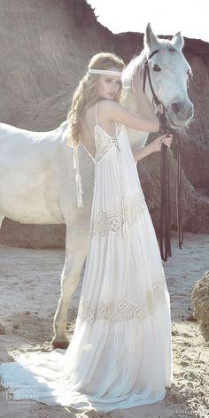 inbal raviv 2017 bridal sleeveless spaghetti strap sweetheart neckline light embellishment bohemian tent wedding dress sweep train (peleg) bv -- Inbal Raviv 2017 Wedding Dresses