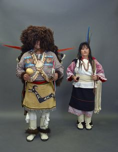 """Buffalo dancers Tonio LeFebre, and his sister, Wanda Jean LeFebre. Their tribe, the Piro-Manso-Tiwas of New Mexico, revived the Buffalo Dance in 2012 after more than a century of its disuse. Mr. LeFebre's elaborate """"buffalo"""" headdress is actually made of sheepskin. Photo, September 1, 2015 by Carol M. Highsmith at a gathering of Native People in Pueblo, Colorado. Gates Frontiers Fund Colorado Collection, Carol M. Highsmith Archive, Library of Congress."""