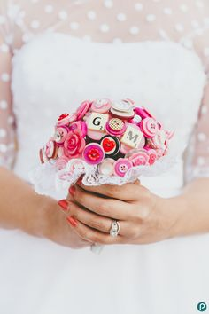 Creative wedding photography in Dorset | Home made DIY wedding bouquet out of buttons | Paul Underhill Photography