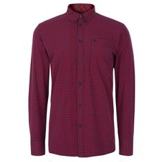 Merc London Men s Red & Navy Japster Stylish Gingham Long Sleeve Check Shirt #menswear #shirts #merc #polo