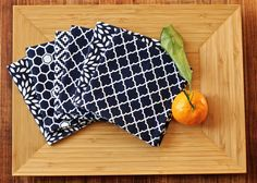 Small Cloth Napkins | Mix-and-Match Lunchbox Napkins | Double-sided Fabric Napkins | Set of 6 Reversible Napkins | Navy Blue and White by TheIvyKillers on Etsy