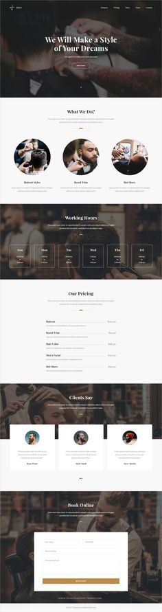 Hairy is clean and modern design #PSD template for onepage #salon and #barbershop landing page website download now..