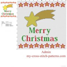 Comet star and text Merry Christmas free cross stitch pattern - free cross stitch patterns simple unique alphabets baby Christmas Cross, Merry Christmas, Mickey Mouse, Decoration Originale, Le Point, Cross Stitching, Cross Stitch Patterns, Needlework, Free Pattern